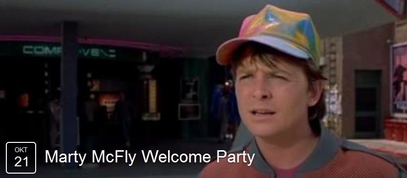 Header Marty McFly Welcome Party auf Facebook