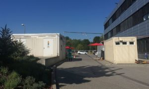 Teststation in Containern bei Bioscientia in Ingelheim. - Foto: gik